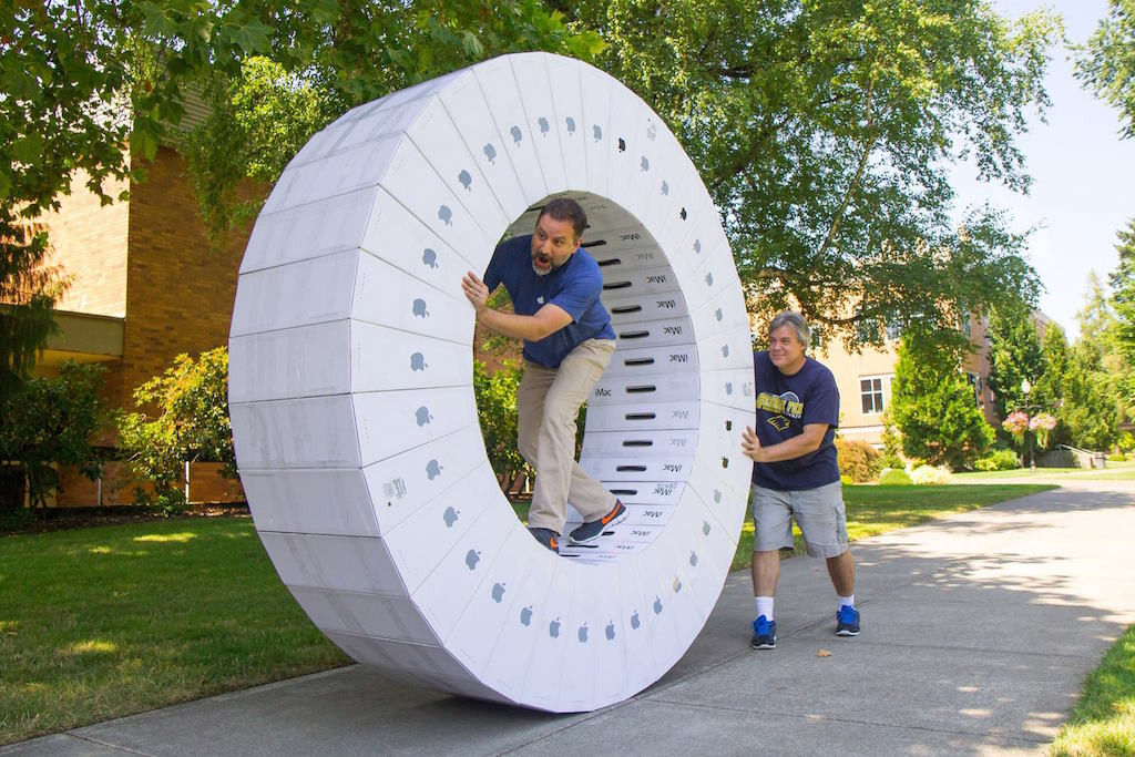 With 36 iMac Boxes You Can Create Human Size Hamster Wheel