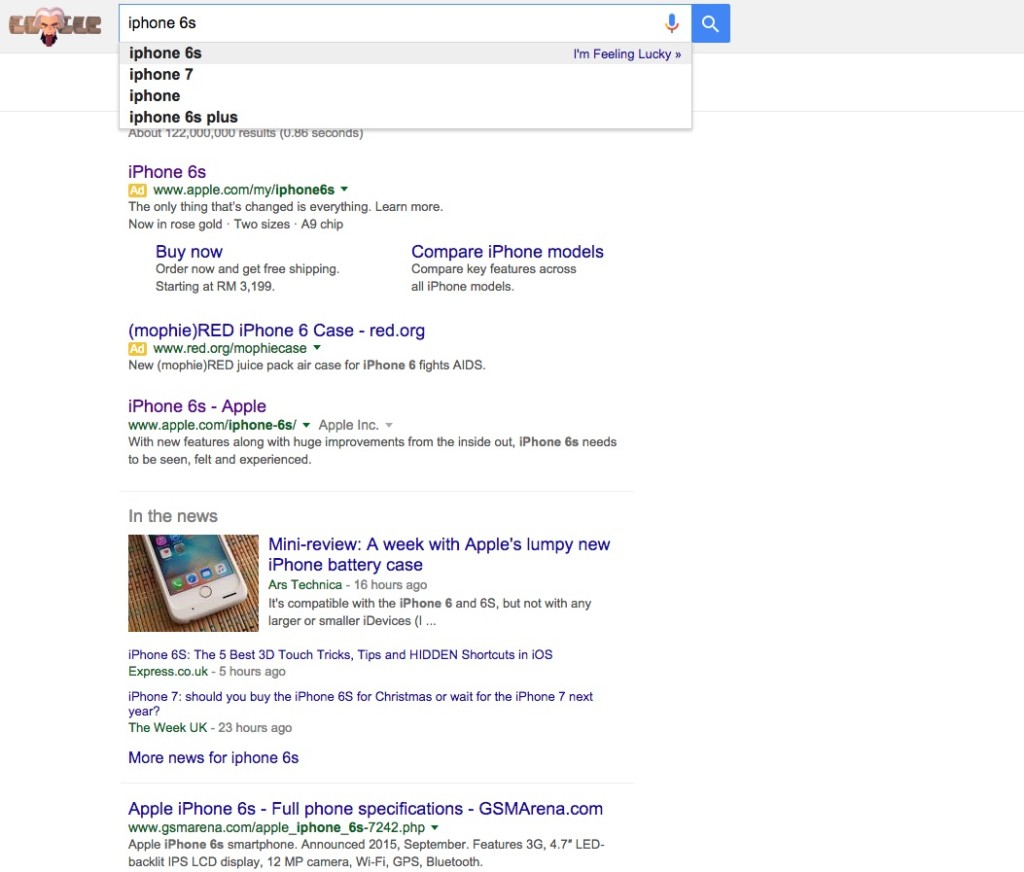 iPhone 6s search term