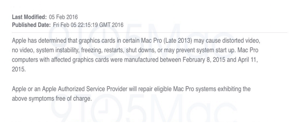 Internal Letter for Mac Pro replacement